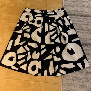 Loft Navy Cream abstract print a-line skirt